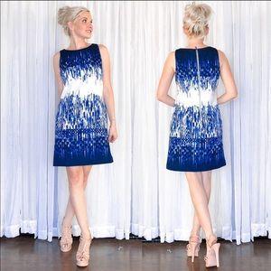 Vince Camuto Blue White Pattern Dress